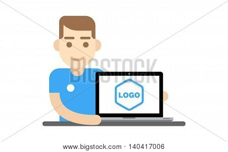 Hipster man sitting at the table and presenting project on the screen of laptop Vector flat design illustration isolated on white background