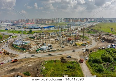 Tyumen, Russia - July 28, 2016: Construction of two-level outcome on bypass road on Fedyuninskogo and Melnikayte streets intersection