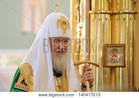 Orel Russia - July 28 2016: Russia baptism anniversary Divine Lutirgy. Patriarch Kirill in festive uniform with golden crozier closeup