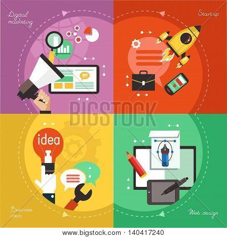Modern web concepts set flat vector digital marketing start up dusiness idea web design.