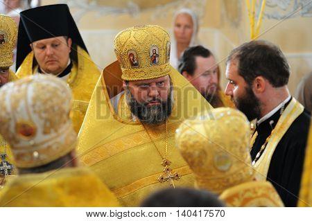 Orel Russia - July 28 2016: Russia baptism anniversary Divine Lutirgy. Russian Orthodox church bishops in festive uniform closeup