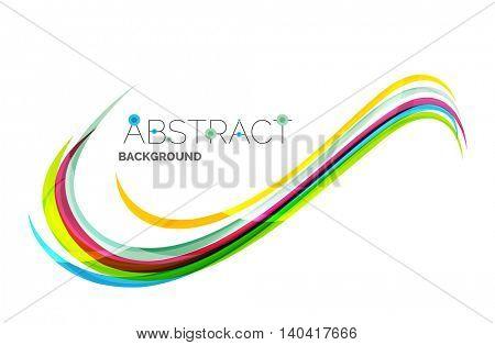 Rainbow color lines on white. Identity wave element. unievrsal presentation concept
