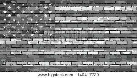 Black and white USA flag on a brick wall - Illustration, Flag of the United States of America on a brick wall, USA flag on brick textured background,  Flag of United States of America in brick style
