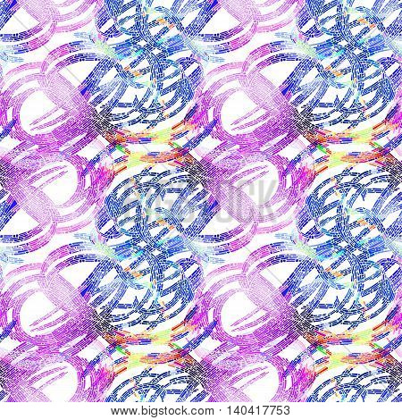 Seamless pattern with bright mosaic drawing in doodle style. Hand-drawn illustration. Vector.