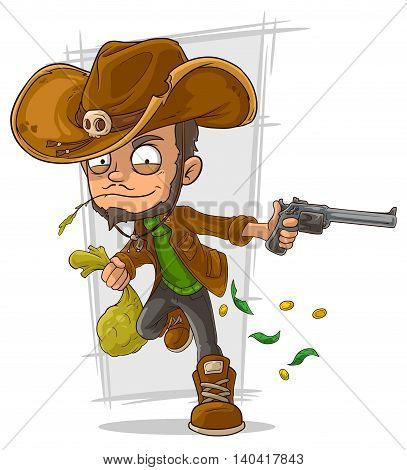 A vector illustration of cartoon cowboy robber with handgun