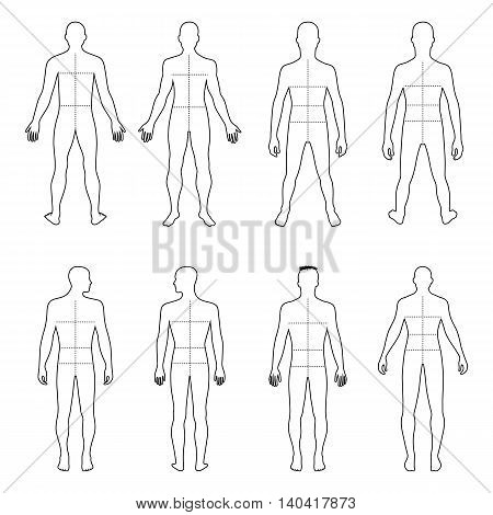 Full length front back man outlined silhouette vector illustration with marked body's sizes lines isolated on white