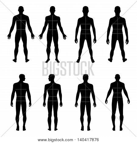 Full length front back man silhouette vector illustration with marked body's sizes lines isolated on white