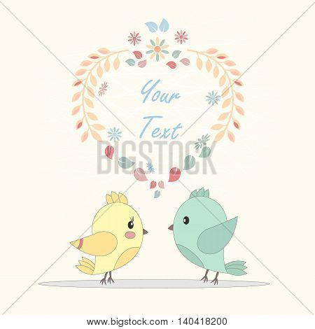 greeting card with birds in love - vector illustration