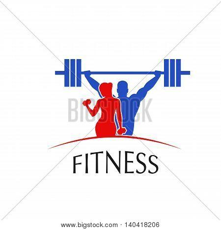 Fitness Center logo label icon - vector illustration