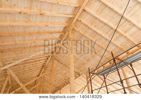 Wooden Roof Under Construction