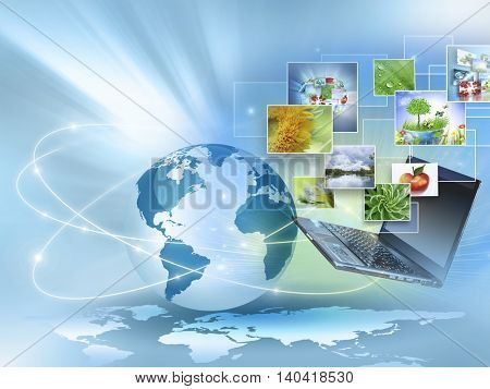 Best Internet Concept of global business. Globe, glowing lines on technological background. Electronics, Wi-Fi, rays, symbols Internet, television, mobile and satellite communicationsblue blur