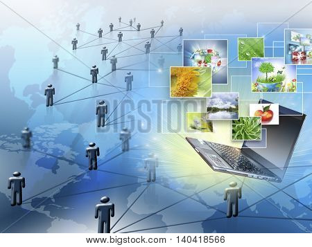 Best Internet Concept of global business. Globe,laptop on technological background. Electronics, Wi-Fi, rays, symbols Internet, television communications