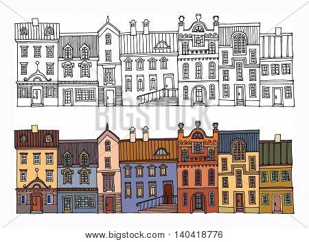 Cartoon hand drawing houses or city, vector