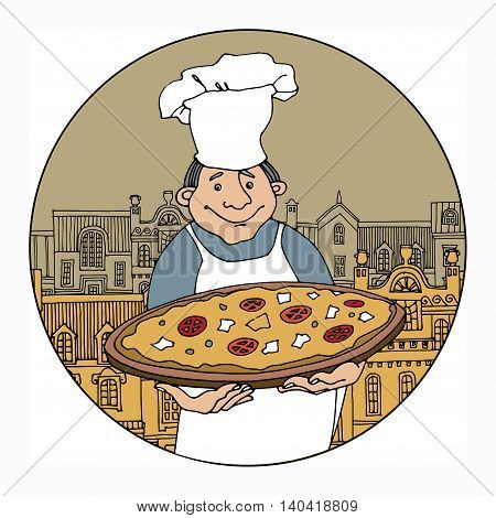 Chef with pizza color cartoon, vector illustration