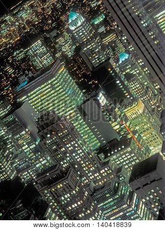Aerial view of the Manhattan at night.