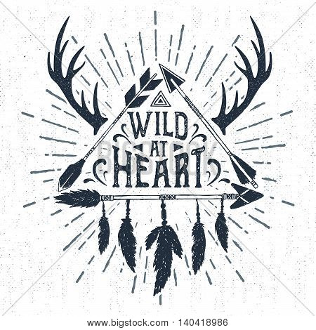 Hand drawn tribal badge with textured arrows triangle vector illustration and