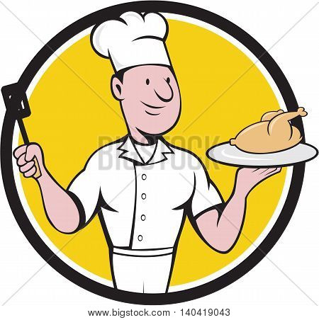 Illustration of a chef cook serving roast chicken on a platter on one hand and holding a spatula on the other hand viewed from front set inside circle on isolated background done in cartoon style.