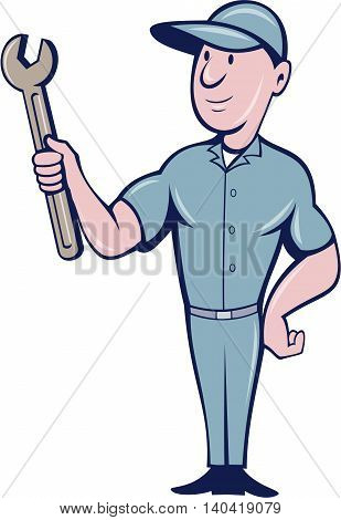 Illustration of a repairman handyman worker wearing hat standing holding spanner wrench looking to the side set on isolated white background done in cartoon style.