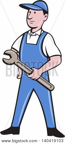 Illustration of a repairman handyman worker standing wearing hat and overalls holding spanner wrench looking to the side viewed from front set on isolated white background done in cartoon style.