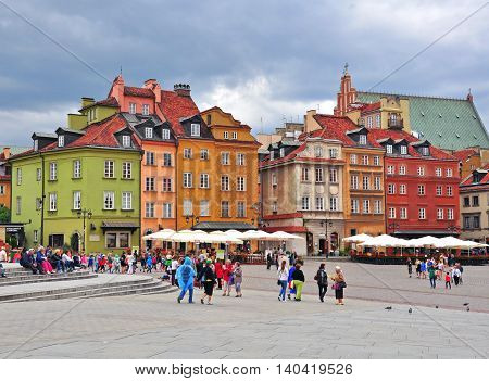 WARSAW POLAND - JUNE 13: View of Warsaw historical centre on June 13 2014. Warsaw is a capital and largest city of Poland.