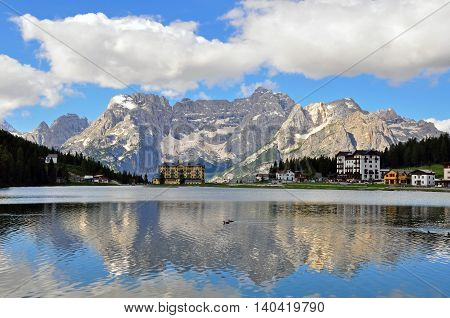 MISURINA ITALY - JULY 12: View of Misurina lake in Veneto province Italy on July 12 2014. Misurina is a lake in Dolomites mountain range in northern Italy.