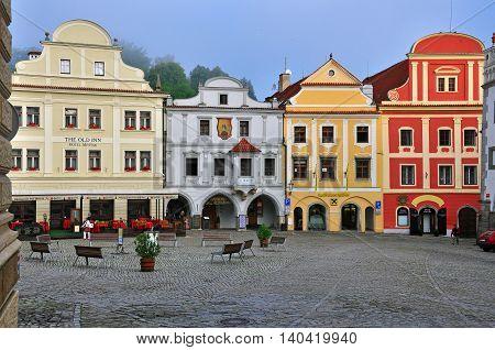CESKY KRUMLOV CZECH REPUBLIC - AUGUST 1: View of a main square of Cesky Krumlov city centre on August 1 2014. Cesky Krumlov is a small city in the South Bohemian Region of the Czech Republic.
