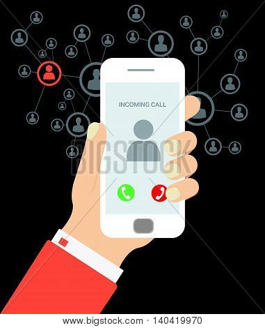 incoming call from network people vector hand