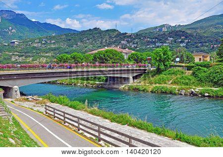 River in Riva del Garda town, Italy