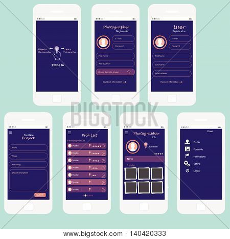 Universal UI Kit for designing responsive websites, mobile apps & user interface. Dark purple background.