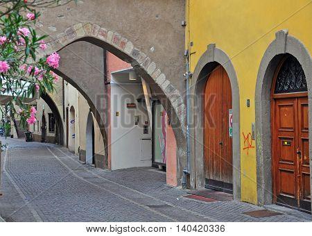 Tyrolean patio in Bolzano city, Northern Italy