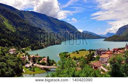 Top view of amazing Molveno lake in Trentino Alto Northern Italy