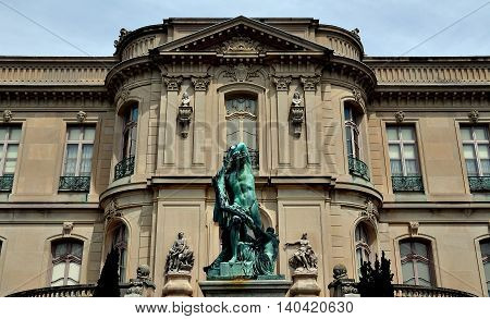 Newport Rhode Island - July 17 2015: Monumental statue Furie di Atamante at 1901 The Elms gilded age mansion inspired by Chateau d'Asnieres in France