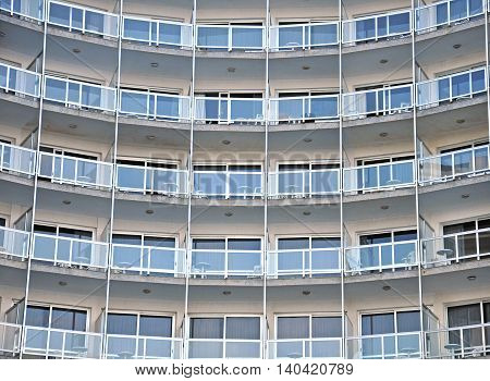 View of the similar windows of the hotel