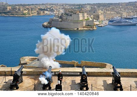 VALLETTA MALTA - FEBRUARY 19: Midday start of saluting Lascaris Battery in Valletta city on February 19 2014. Valletta is a capital and the largest city of Malta.