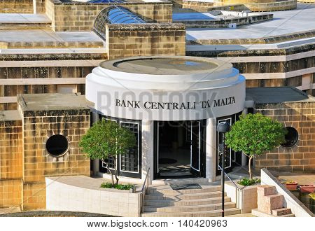 VALLETTA MALTA - MARCH 12: Entrance of a main building of Maltese Central Bank office on March 12 2013. Valletta is a capital and the most famous city of Malta.
