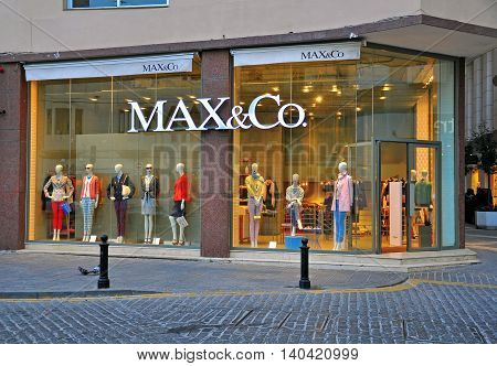 SLIEMA MALTA - MARCH 20: Max&Co flagship store in Sliema town on March 20 2013. MaxMara is a luxury Italian fashion house known for its ready-to-wear clothing.
