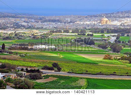 Maltese landscape. View from Mdina mediaval city