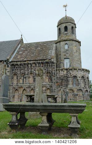 An external view of a medieval church in Leuchars