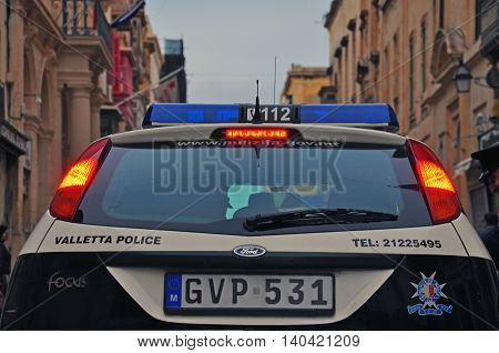 VALLETTA MALTA - FEBRUARY 28: Car of Malta police department on the street of Valletta on february 28 2014. Valletta is a capital and the largest city of Malta.