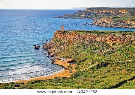 Mediterranean landscape Golden beach near Mellieha Malta