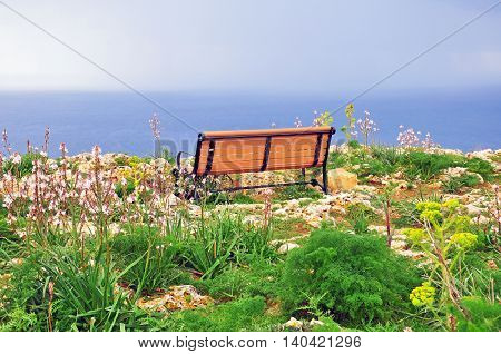 Romantic bench at the sea. Dingli Cliffs Malta