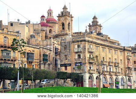 BIRGU MALTA - FEBRUARY 19: Traditional maltese street in the centre of Birgu on February 19 2013. Birgu is an old fortified city in Malta.