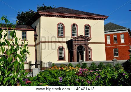 Newport Rhode Island - July 16 2015: 1763 Touro Synagogue built by the Jeshuat Israel colonial congregation is the oldest Jewish synagogue in the United States