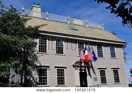 Newport Rhode Island - July 17 2015: 1748 Georgian Colonial style Hunter House with its balustraded gambrel roof at Easton's Point historic district