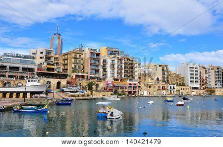 SAINT JULIANS MALTA - MARCH 5: Panorama of Saint Julians old town on March 5 2014. Saint Julians is a town close to Valletta the largest city of Malta.