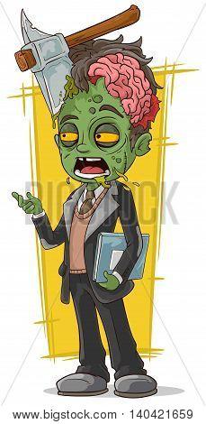 A vector illustration of cartoon dead zombie business man