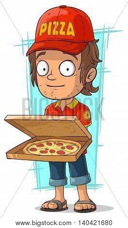 A vector illustration of cartoon delivery man with open pizza box