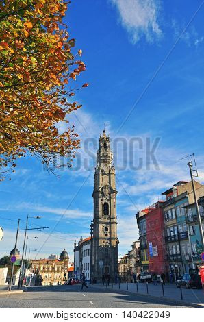 PORTO PORTUGAL - NOVEMBER 26: Bell tower in Porto historical centre on November 26 2013. Porto is one of the oldest European centers and the second largest city of Portugal.