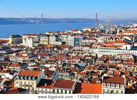 Panorama of Lisbon city center in Portugal