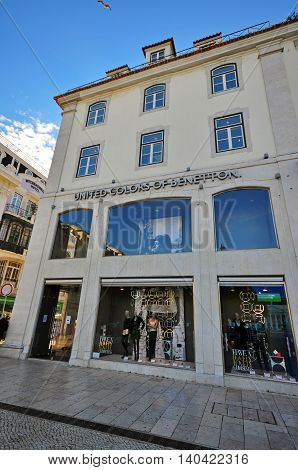 LISBON PORTUGAL - DECEMBER 21: Benetton flagship store in Baixa district of Lisbon on december 21 2013. Lisbon is a capital and the largest city of Portugal.